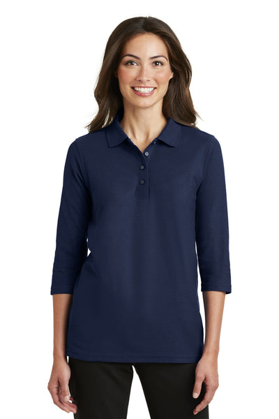 Port Authority L562 Womens Silk Touch 3/4 Sleeve Polo Shirt Navy Blue Front