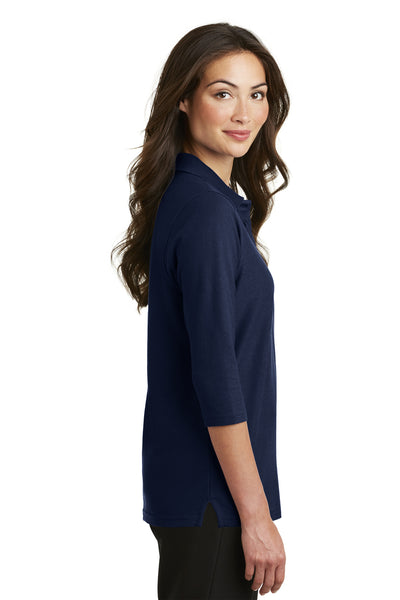 Port Authority L562 Womens Silk Touch 3/4 Sleeve Polo Shirt Navy Blue Side