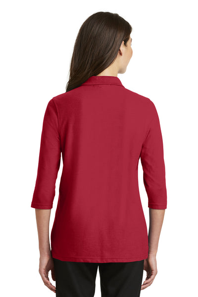 Port Authority L562 Womens Silk Touch 3/4 Sleeve Polo Shirt Red Back