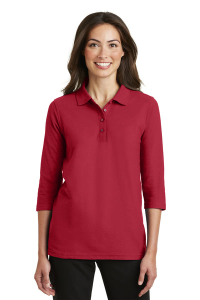 Port Authority L562 Womens Silk Touch 3/4 Sleeve Polo Shirt Red Front