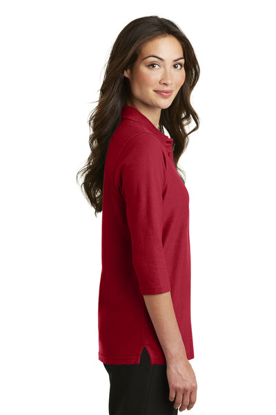 Port Authority L562 Womens Silk Touch 3/4 Sleeve Polo Shirt Red Side
