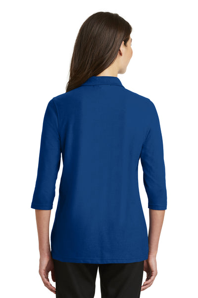 Port Authority L562 Womens Silk Touch 3/4 Sleeve Polo Shirt Royal Blue Back