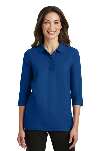 Port Authority L562 Womens Silk Touch 3/4 Sleeve Polo Shirt Royal Blue Front