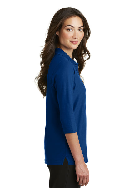 Port Authority L562 Womens Silk Touch 3/4 Sleeve Polo Shirt Royal Blue Side