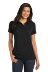 Port Authority L567 Womens 5-in-1 Performance Moisture Wicking Short Sleeve Polo Shirt Black Front