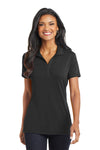 Port Authority L568 Womens Cotton Touch Performance Moisture Wicking Short Sleeve Polo Shirt Black Front