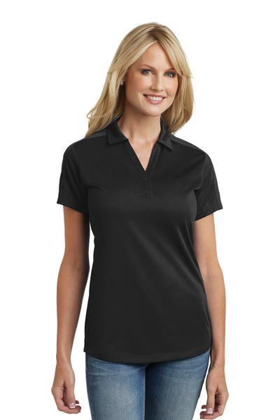 Port Authority L569 Womens Moisture Wicking Short Sleeve Polo Shirt Black Front