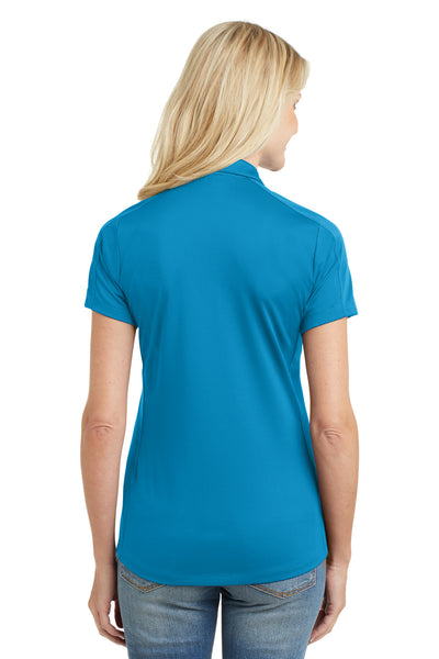 Port Authority L569 Womens Moisture Wicking Short Sleeve Polo Shirt Blue Wake Back