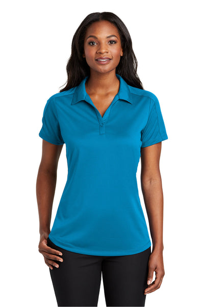 Port Authority L569 Womens Moisture Wicking Short Sleeve Polo Shirt Blue Wake Front