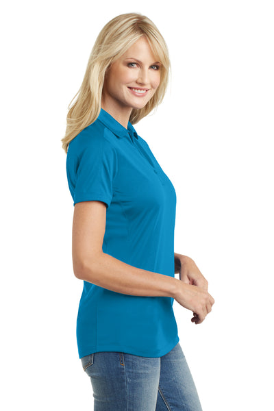 Port Authority L569 Womens Moisture Wicking Short Sleeve Polo Shirt Blue Wake Side