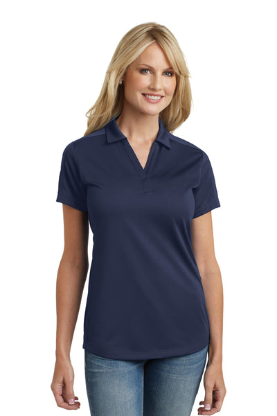 Port Authority L569 Womens Moisture Wicking Short Sleeve Polo Shirt Navy Blue Front