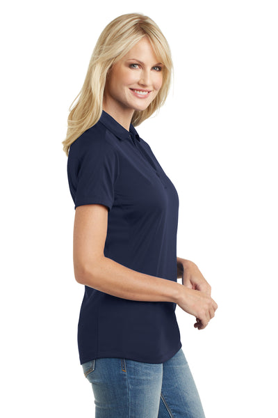 Port Authority L569 Womens Moisture Wicking Short Sleeve Polo Shirt Navy Blue Side