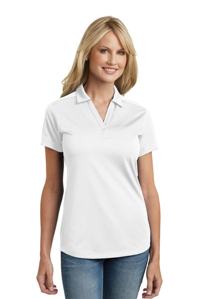 Port Authority L569 Womens Moisture Wicking Short Sleeve Polo Shirt White Front