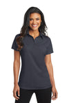 Port Authority L571 Womens Dimension Moisture Wicking Short Sleeve Polo Shirt Battleship Grey Front