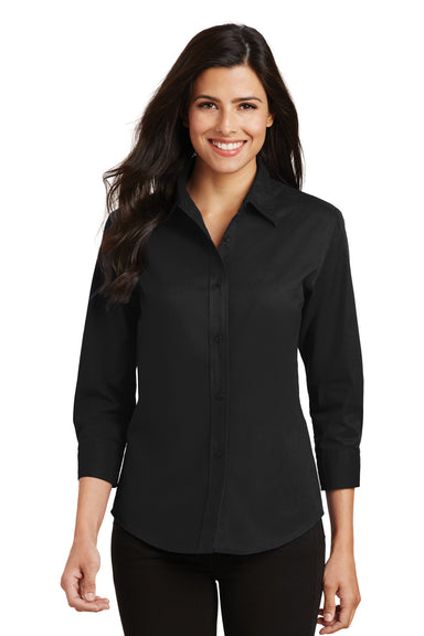 Port Authority L612 Womens Easy Care Wrinkle Resistant 3/4 Sleeve Button Down Shirt Black Front