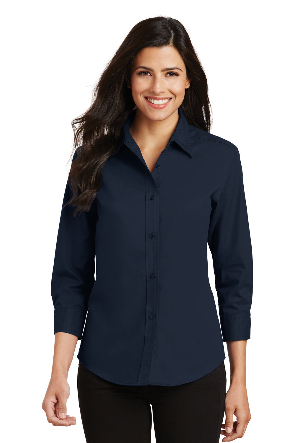 Port Authority Womens Easy Care Wrinkle Resistant 3/4 Sleeve Button Down Shirt - Navy Blue