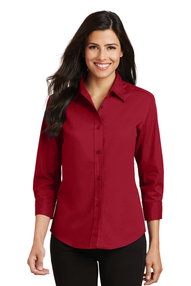 Port Authority L612 Womens Easy Care Wrinkle Resistant 3/4 Sleeve Button Down Shirt Red Front