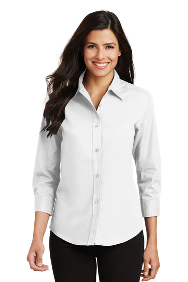 Port Authority L612 Womens Easy Care Wrinkle Resistant 3/4 Sleeve Button Down Shirt White Front