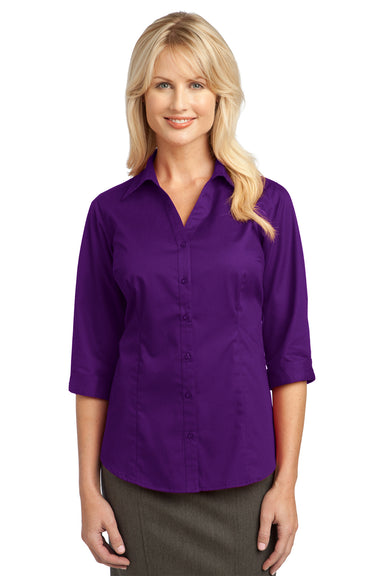 Port Authority L6290 Womens Wrinkle Resistant 3/4 Sleeve Button Down Shirt Purple Front