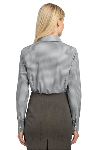 Port Authority L639 Womens Easy Care Wrinkle Resistant Long Sleeve Button Down Shirt Charcoal Grey Back
