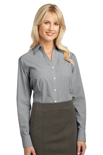 Port Authority L639 Womens Easy Care Wrinkle Resistant Long Sleeve Button Down Shirt Charcoal Grey Front