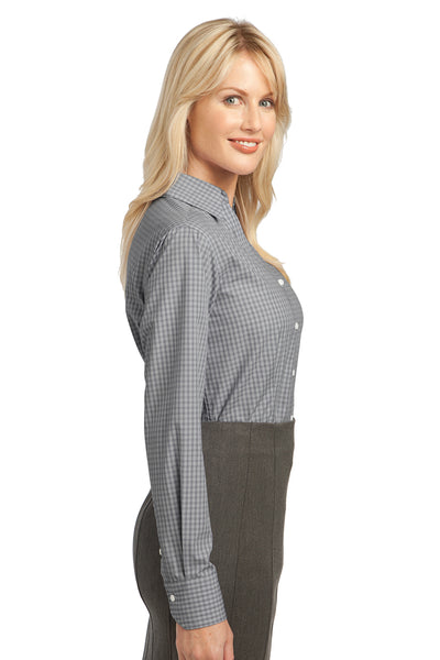 Port Authority L639 Womens Easy Care Wrinkle Resistant Long Sleeve Button Down Shirt Charcoal Grey Side
