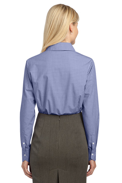 Port Authority L639 Womens Easy Care Wrinkle Resistant Long Sleeve Button Down Shirt Navy Blue Back