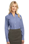 Port Authority L639 Womens Easy Care Wrinkle Resistant Long Sleeve Button Down Shirt Navy Blue Front