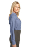 Port Authority L639 Womens Easy Care Wrinkle Resistant Long Sleeve Button Down Shirt Navy Blue Side