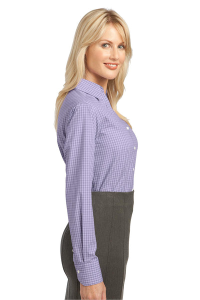 Port Authority L639 Womens Easy Care Wrinkle Resistant Long Sleeve Button Down Shirt Purple Back