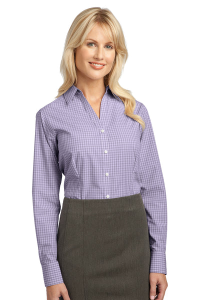 Port Authority L639 Womens Easy Care Wrinkle Resistant Long Sleeve Button Down Shirt Purple Front