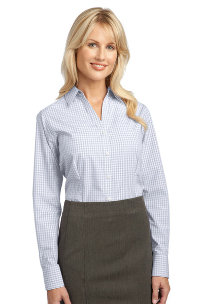 Port Authority L639 Womens Easy Care Wrinkle Resistant Long Sleeve Button Down Shirt White Front