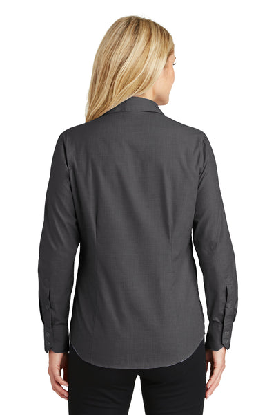 Port Authority L640 Womens Easy Care Wrinkle Resistant Long Sleeve Button Down Shirt Soft Black Back