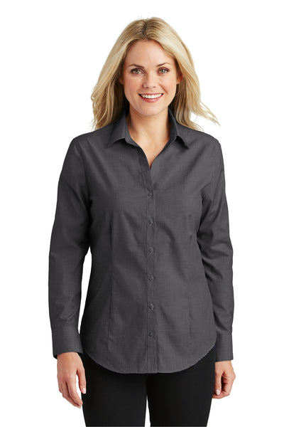 Port Authority L640 Womens Easy Care Wrinkle Resistant Long Sleeve Button Down Shirt Soft Black Front