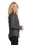 Port Authority L640 Womens Easy Care Wrinkle Resistant Long Sleeve Button Down Shirt Soft Black Side