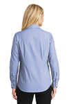 Port Authority L640 Womens Easy Care Wrinkle Resistant Long Sleeve Button Down Shirt Chambray Blue Back