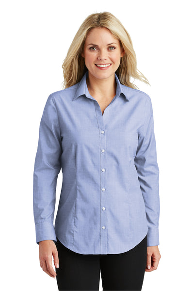 Port Authority L640 Womens Easy Care Wrinkle Resistant Long Sleeve Button Down Shirt Chambray Blue Front