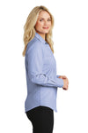 Port Authority L640 Womens Easy Care Wrinkle Resistant Long Sleeve Button Down Shirt Chambray Blue Side