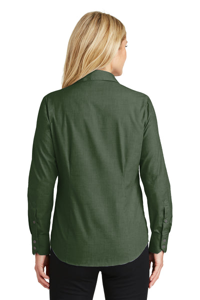 Port Authority L640 Womens Easy Care Wrinkle Resistant Long Sleeve Button Down Shirt Dark Cactus Green Back
