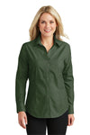Port Authority L640 Womens Easy Care Wrinkle Resistant Long Sleeve Button Down Shirt Dark Cactus Green Front