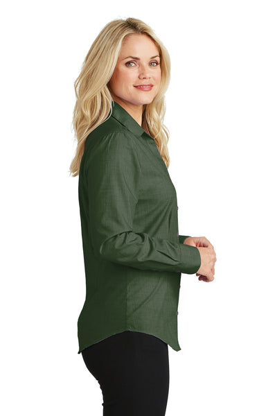 Port Authority L640 Womens Easy Care Wrinkle Resistant Long Sleeve Button Down Shirt Dark Cactus Green Side