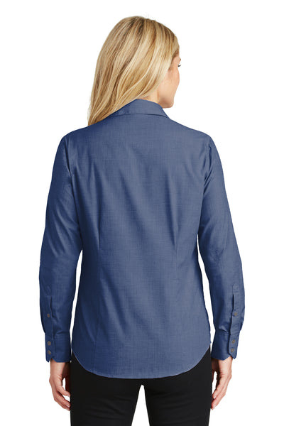 Port Authority L640 Womens Easy Care Wrinkle Resistant Long Sleeve Button Down Shirt Deep Blue Back