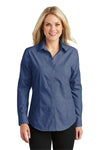 Port Authority L640 Womens Easy Care Wrinkle Resistant Long Sleeve Button Down Shirt Deep Blue Front