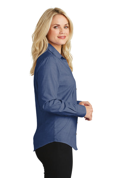 Port Authority L640 Womens Easy Care Wrinkle Resistant Long Sleeve Button Down Shirt Deep Blue Side