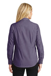 Port Authority L640 Womens Easy Care Wrinkle Resistant Long Sleeve Button Down Shirt Grape Purple Back