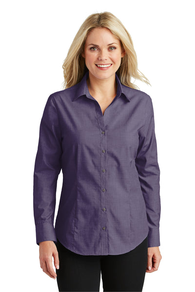 Port Authority L640 Womens Easy Care Wrinkle Resistant Long Sleeve Button Down Shirt Grape Purple Front