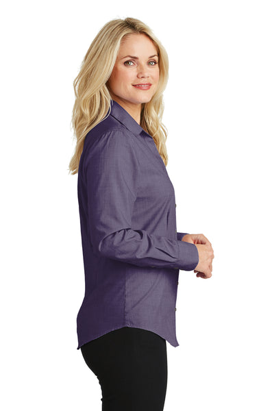 Port Authority L640 Womens Easy Care Wrinkle Resistant Long Sleeve Button Down Shirt Grape Purple Side