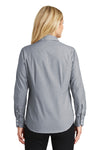 Port Authority L640 Womens Easy Care Wrinkle Resistant Long Sleeve Button Down Shirt Navy Blue Frost Back