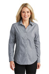 Port Authority L640 Womens Easy Care Wrinkle Resistant Long Sleeve Button Down Shirt Navy Blue Frost Front