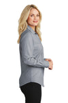 Port Authority L640 Womens Easy Care Wrinkle Resistant Long Sleeve Button Down Shirt Navy Blue Frost Side